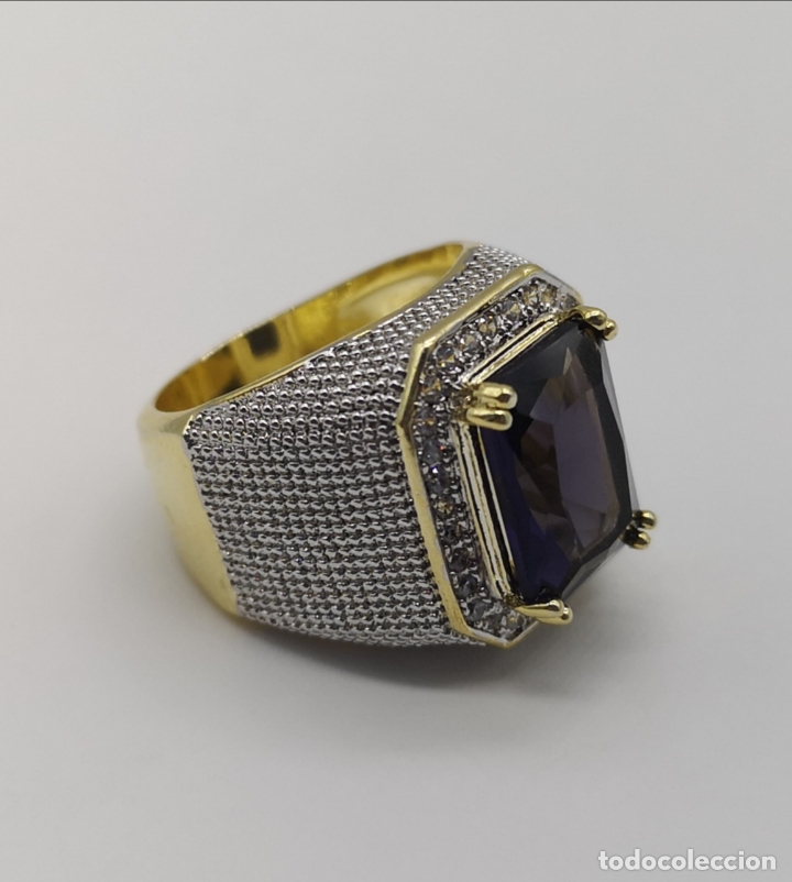 Joyeria: Gran anillo de estilo marqués tipo sello, chapado en oro de 14k, circonitas y gran amatista . - Foto 8 - 186332722