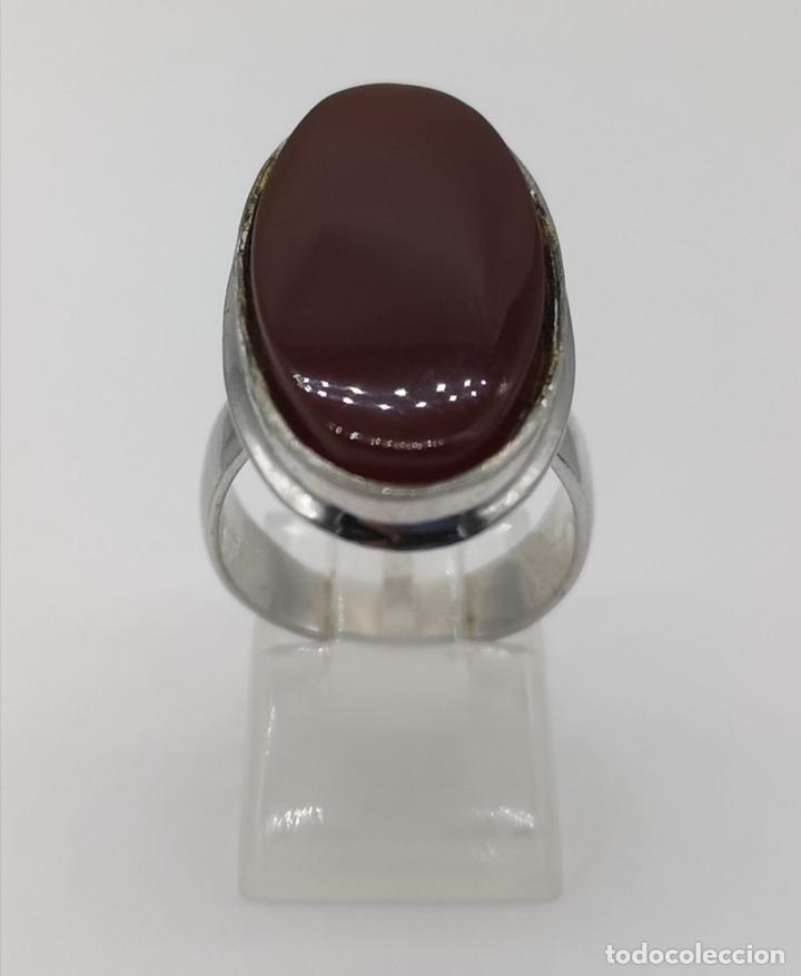 Joyeria: Gran anillo antiguo en plata de ley contrastada y cabujon de ágata cornalina autentica . - Foto 4 - 177463677