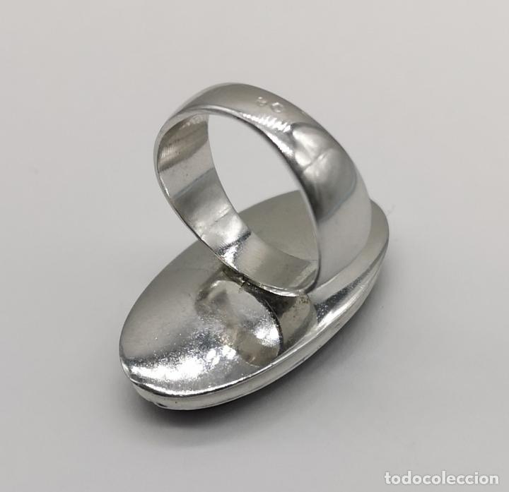 Joyeria: Gran anillo antiguo en plata de ley contrastada y cabujon de ágata cornalina autentica . - Foto 5 - 177463677