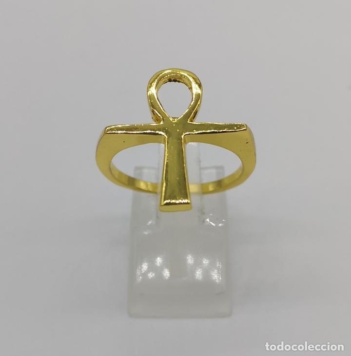 Joyeria: Anillo de caballero con cruz egipcia de Horus chapado en oro de 10k . - Foto 2 - 177466928