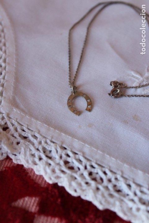 CADENA DE PLATA 925 VINTAGE CON PEQUEÑO COLGANTE HERRADURA PLATEADO 41 CM (Joyería - Cadenas Antiguas)