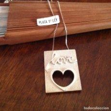 Joyeria: GARGANTILLA CON COLGANTE DE PLATA . LOVE. AÑOS 60. PIEZA RARA.. Lote 177799628