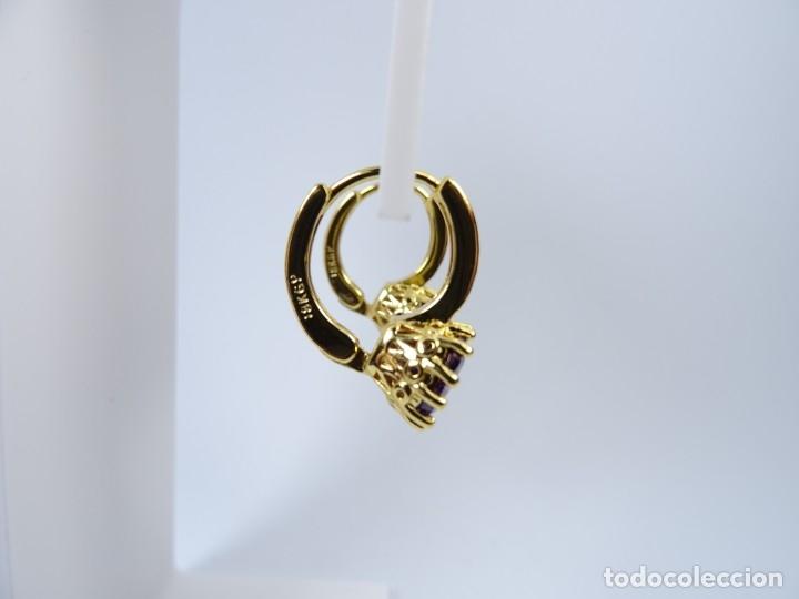 Joyeria: Pendientes en oro de 18kgp con montura clásica tipo solitario de amatista - Foto 4 - 177832383