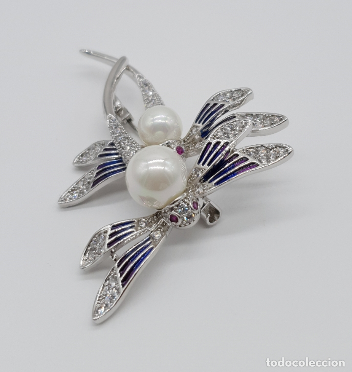 Joyeria: Espectacular broche de lujo estilo art decó chapado en oro blanco de 18k, circonitas y perlas . - Foto 3 - 177834169