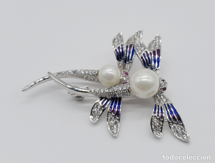 Joyeria: Espectacular broche de lujo estilo art decó chapado en oro blanco de 18k, circonitas y perlas . - Foto 4 - 177834169
