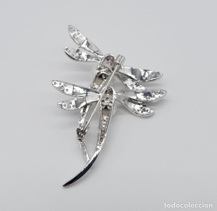 Joyeria: Espectacular broche de lujo estilo art decó chapado en oro blanco de 18k, circonitas y perlas . - Foto 6 - 177834169
