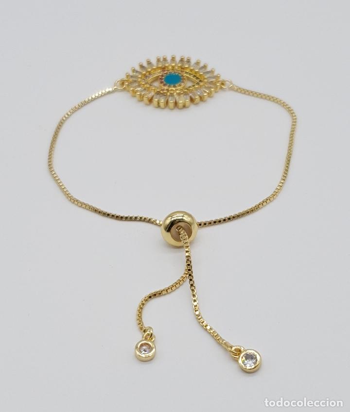 Joyeria: Elegante pulsera con amuleto ojo turco o nazar chapada en oro de 18k y circonitas talla baguette . - Foto 2 - 177835639