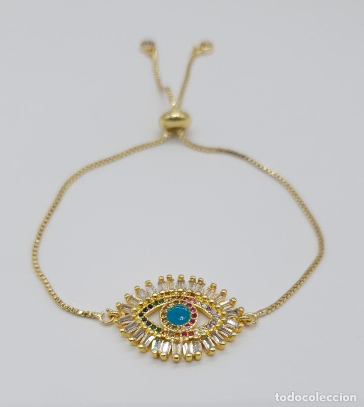 Joyeria: Elegante pulsera con amuleto ojo turco o nazar chapada en oro de 18k y circonitas talla baguette . - Foto 3 - 177835639
