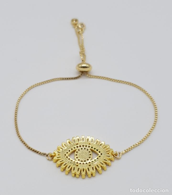 Joyeria: Elegante pulsera con amuleto ojo turco o nazar chapada en oro de 18k y circonitas talla baguette . - Foto 4 - 177835639