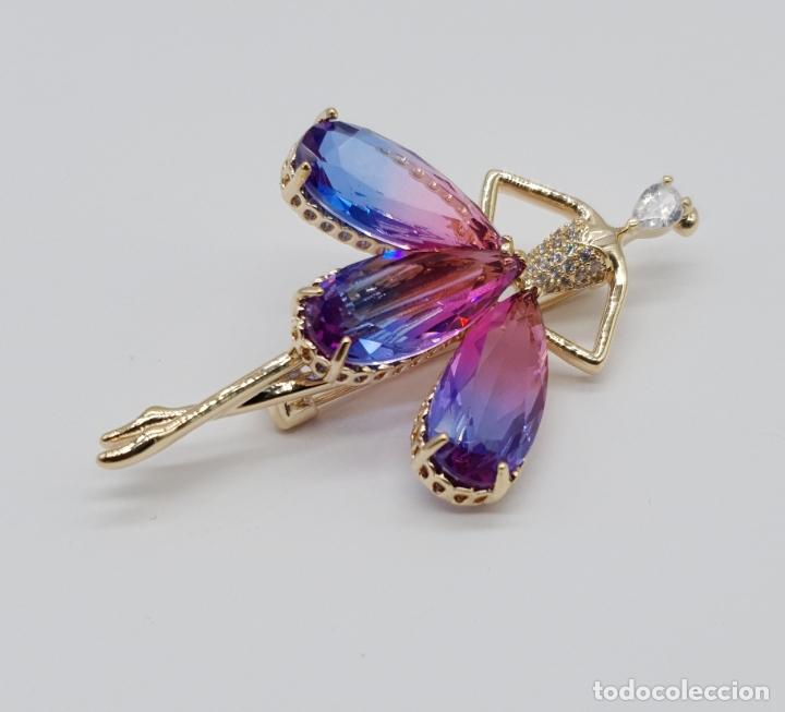 Joyeria: Espectacular broche de lujo chapado en oro de 18k, circonitas y cristal austriaco tono turmalina . - Foto 4 - 177837717