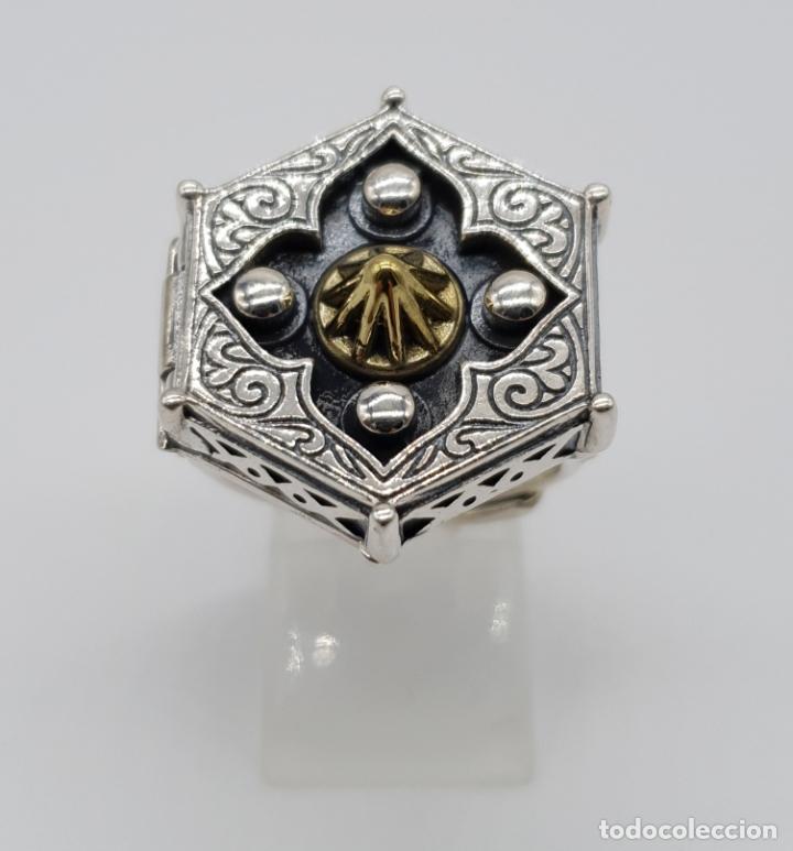 Joyeria: Espectacular anillo Tailandes de puerta taichi tipo cofre con tapa, en plata de ley y oro de 18k . - Foto 2 - 286418343