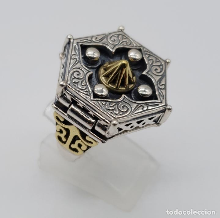 Joyeria: Espectacular anillo Tailandes de puerta taichi tipo cofre con tapa, en plata de ley y oro de 18k . - Foto 3 - 286418343