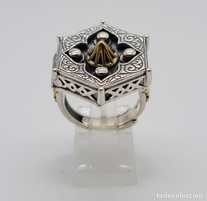 Joyeria: Espectacular anillo Tailandes de puerta taichi tipo cofre con tapa, en plata de ley y oro de 18k . - Foto 4 - 286418343