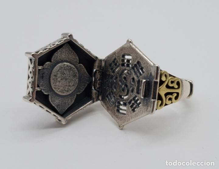 Joyeria: Espectacular anillo Tailandes de puerta taichi tipo cofre con tapa, en plata de ley y oro de 18k . - Foto 5 - 286418343