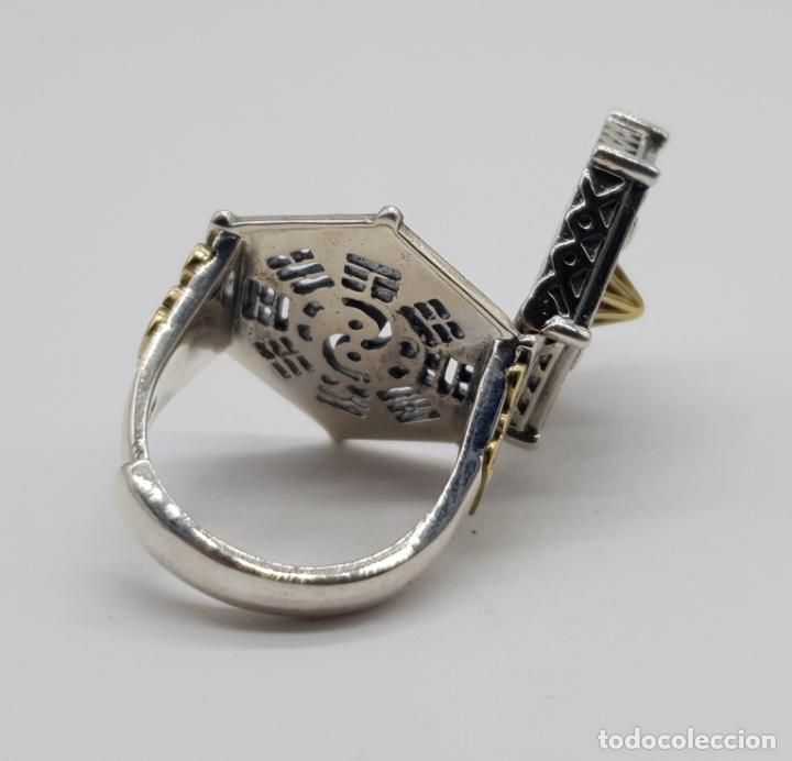 Joyeria: Espectacular anillo Tailandes de puerta taichi tipo cofre con tapa, en plata de ley y oro de 18k . - Foto 6 - 286418343