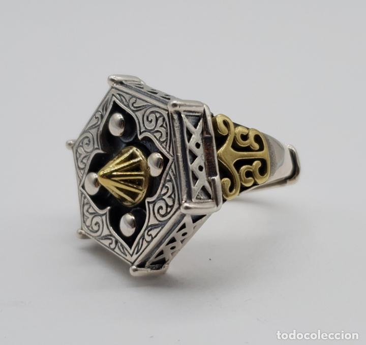 Joyeria: Espectacular anillo Tailandes de puerta taichi tipo cofre con tapa, en plata de ley y oro de 18k . - Foto 7 - 286418343