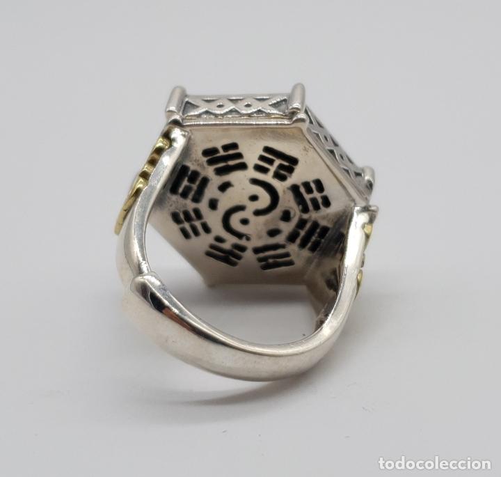 Joyeria: Espectacular anillo Tailandes de puerta taichi tipo cofre con tapa, en plata de ley y oro de 18k . - Foto 8 - 286418343