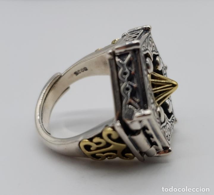 Joyeria: Espectacular anillo Tailandes de puerta taichi tipo cofre con tapa, en plata de ley y oro de 18k . - Foto 9 - 286418343