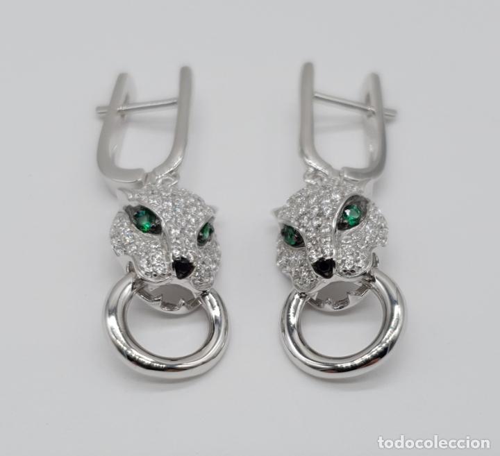 Joyeria: Pendientes de lujo en plata de ley tipo cartier con pave de circonitas talla brillante . - Foto 3 - 177841619