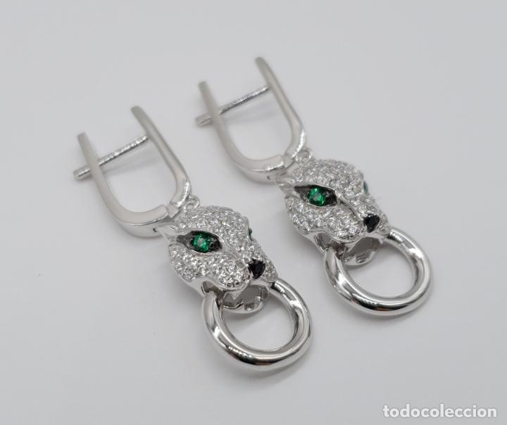 Joyeria: Pendientes de lujo en plata de ley tipo cartier con pave de circonitas talla brillante . - Foto 4 - 177841619