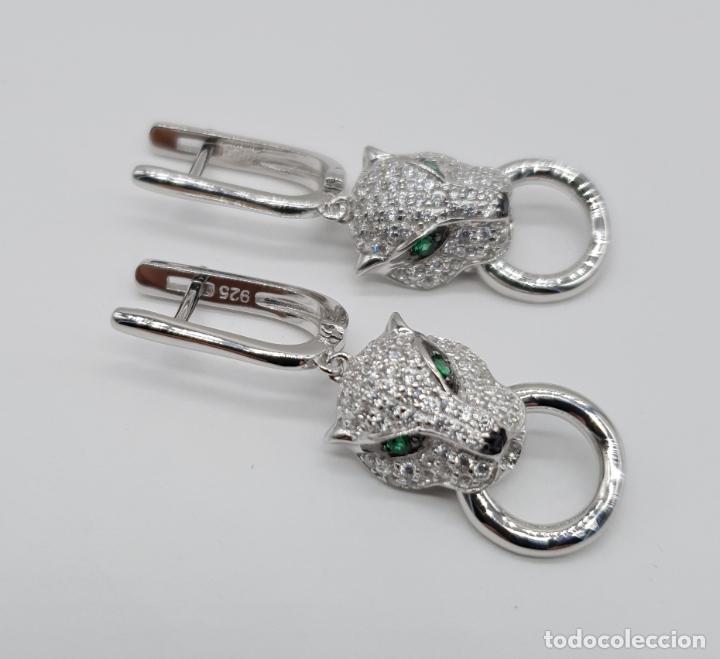 Joyeria: Pendientes de lujo en plata de ley tipo cartier con pave de circonitas talla brillante . - Foto 5 - 177841619