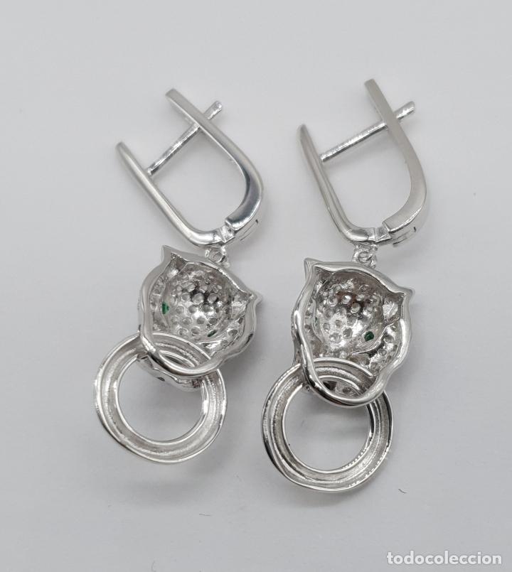 Joyeria: Pendientes de lujo en plata de ley tipo cartier con pave de circonitas talla brillante . - Foto 6 - 177841619