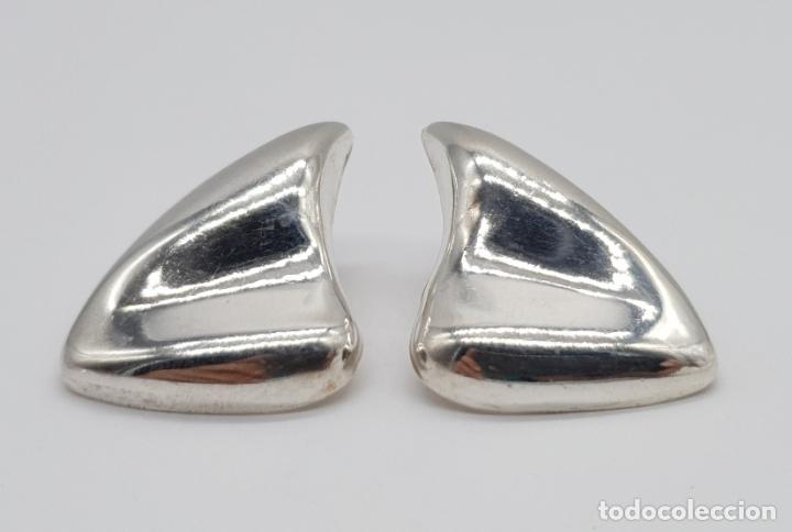 Joyeria: Pendientes vintage de diseño sofisticado en plata de ley repujada . - Foto 3 - 177949552