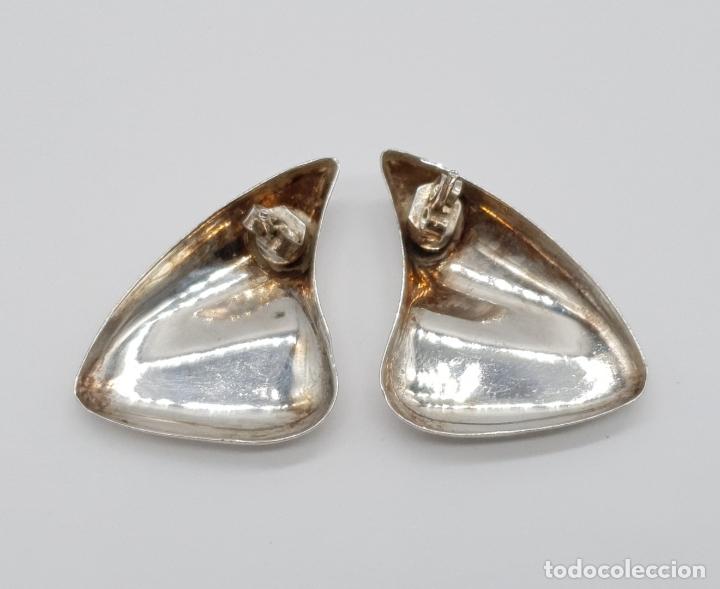 Joyeria: Pendientes vintage de diseño sofisticado en plata de ley repujada . - Foto 5 - 177949552