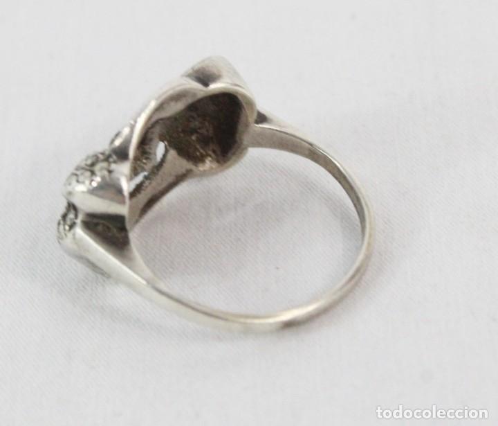 Joyeria: Precioso y elegante anillo de plata y marcasitas, pps del s XX - Foto 3 - 178079309