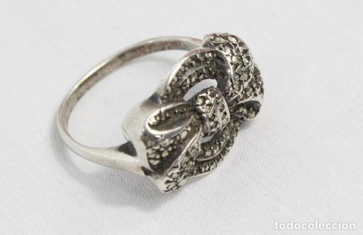Joyeria: Precioso y elegante anillo de plata y marcasitas, pps del s XX - Foto 4 - 178079309