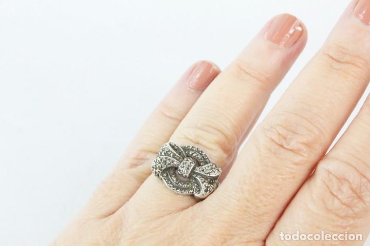 Joyeria: Precioso y elegante anillo de plata y marcasitas, pps del s XX - Foto 5 - 178079309