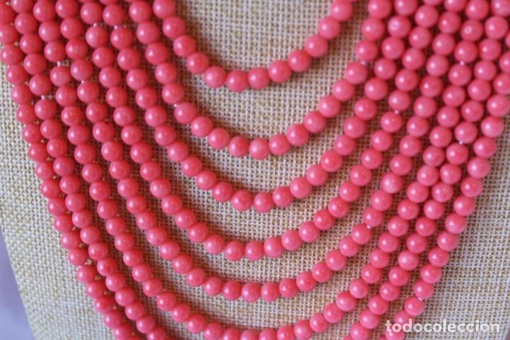 GRAN COLLAR DE 8 VUELTAS DE CORAL ROSA DEL PACÍFICO (Joyería - Collares Antiguos)