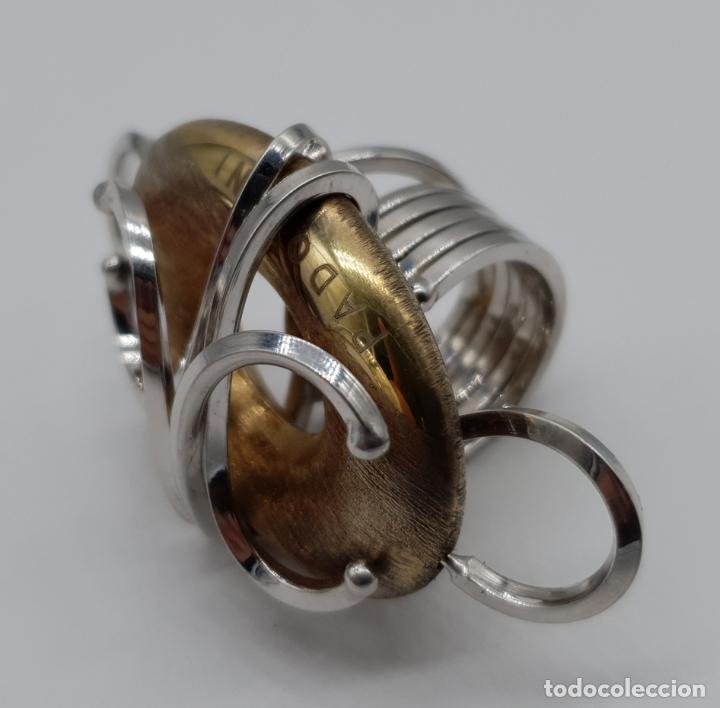 Joyeria: Espectacular anillo Padovani de diseño sofisticado en plata de ley contrastada y polvo de oro de 18k - Foto 6 - 179043631
