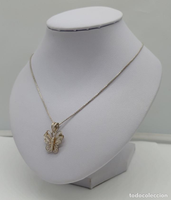 Joyeria: Bella gargantilla antigua con mariposa en filigrana de plata de ley contrastada . - Foto 2 - 179047883