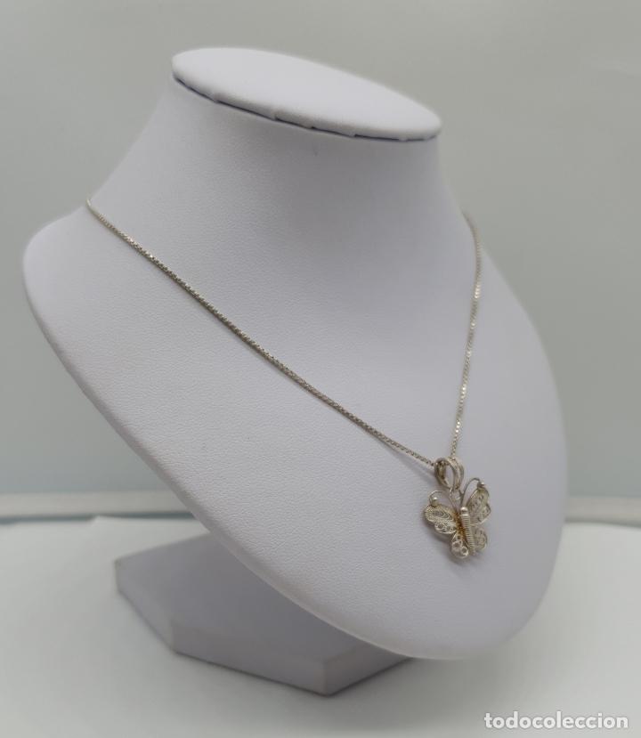 Joyeria: Bella gargantilla antigua con mariposa en filigrana de plata de ley contrastada . - Foto 3 - 179047883