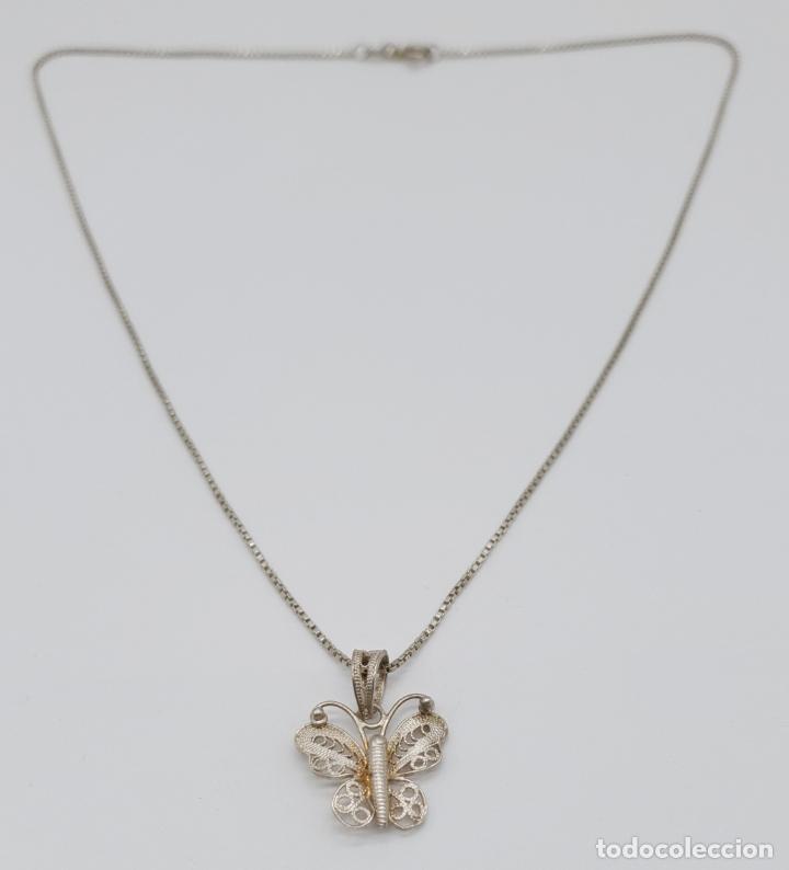Joyeria: Bella gargantilla antigua con mariposa en filigrana de plata de ley contrastada . - Foto 4 - 179047883