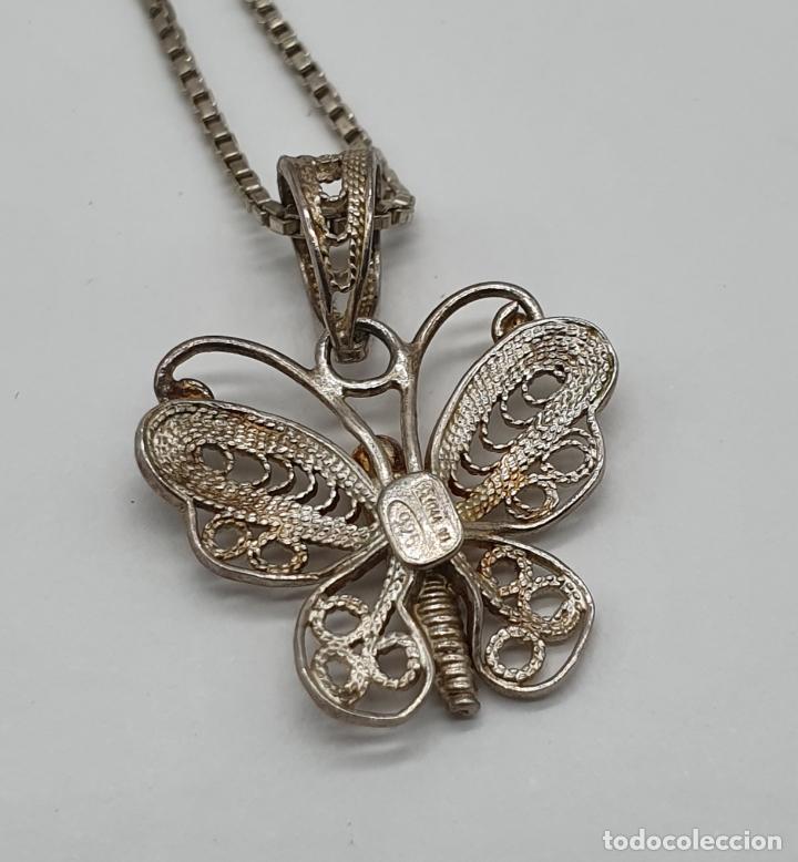 Joyeria: Bella gargantilla antigua con mariposa en filigrana de plata de ley contrastada . - Foto 5 - 179047883