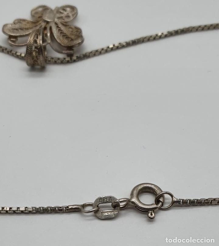 Joyeria: Bella gargantilla antigua con mariposa en filigrana de plata de ley contrastada . - Foto 6 - 179047883