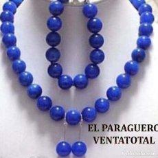 Joyeria: CONJUNTO VINTAGE DE ZAFIROS COLLAR PULSERA Y PENDIENTES PLATA - PESO TOTAL 91 GRAMOS - Nº14. Lote 179052635
