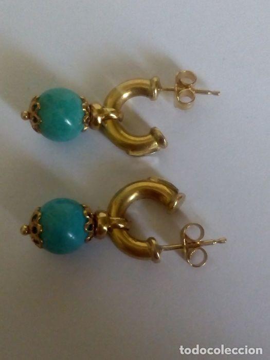 Joyeria: 18 quilates Oro solido amarillo - Pendientes Turquesa - Foto 2 - 179079880