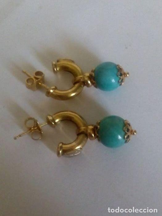 Joyeria: 18 quilates Oro solido amarillo - Pendientes Turquesa - Foto 3 - 179079880