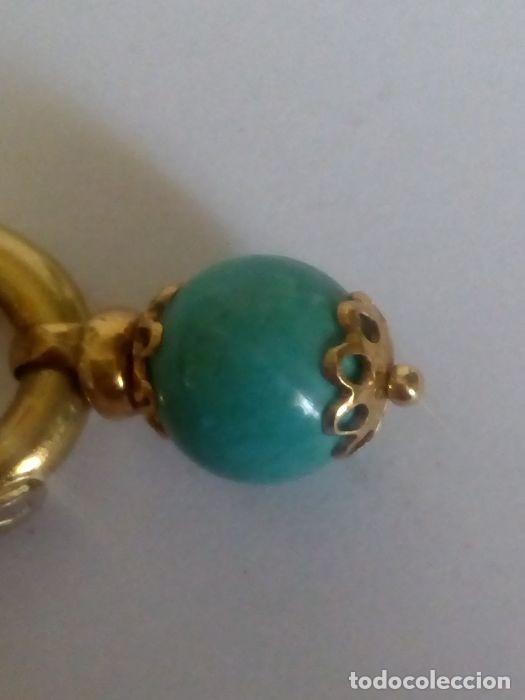 Joyeria: 18 quilates Oro solido amarillo - Pendientes Turquesa - Foto 4 - 179079880