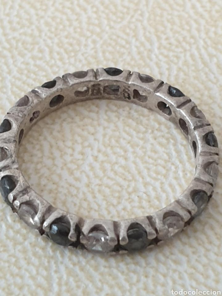 Joyeria: Preciosa alianza de plata de ley antigua 925 circonias y zafiros - Foto 3 - 179088963