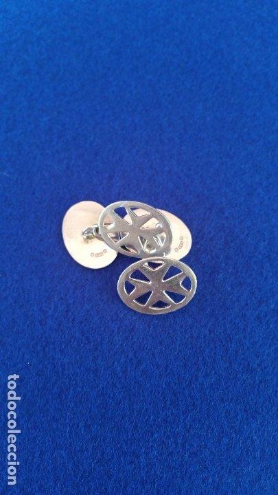 Joyeria: Gemelos Vintage de plata contrastada Orfebre FT. Malta. - Foto 2 - 180130852