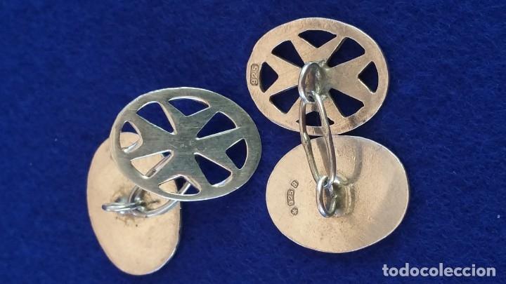 Joyeria: Gemelos Vintage de plata contrastada Orfebre FT. Malta. - Foto 5 - 180130852