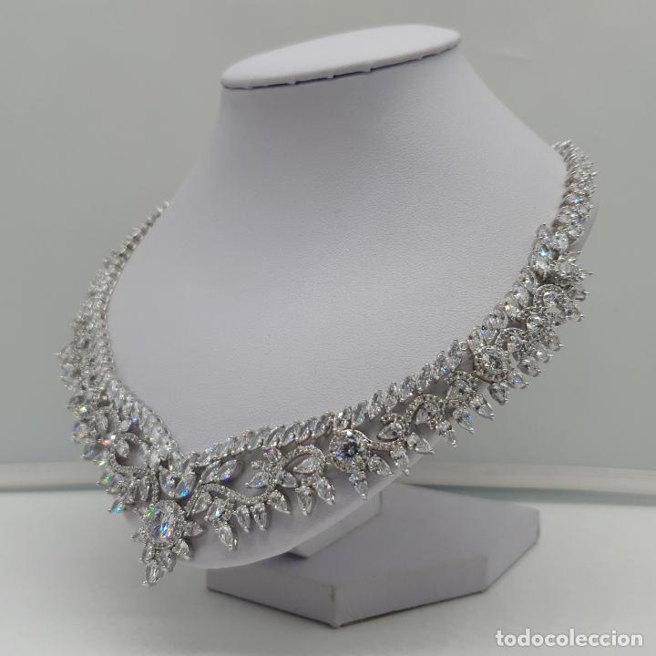Joyeria: Espectacular gargantilla de novia chapada en oro blanco 18k, circonitas talla marqués talla diamante - Foto 2 - 215272607