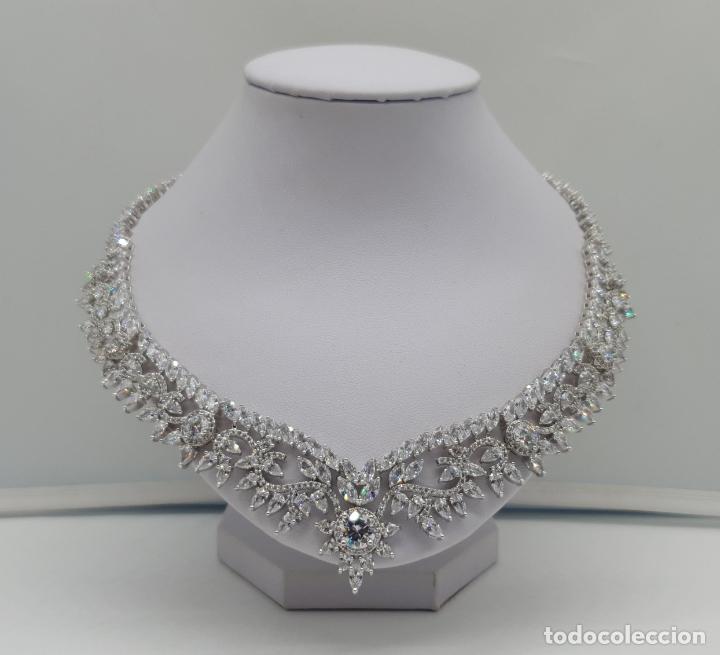 Joyeria: Espectacular gargantilla de novia chapada en oro blanco 18k, circonitas talla marqués talla diamante - Foto 3 - 215272607