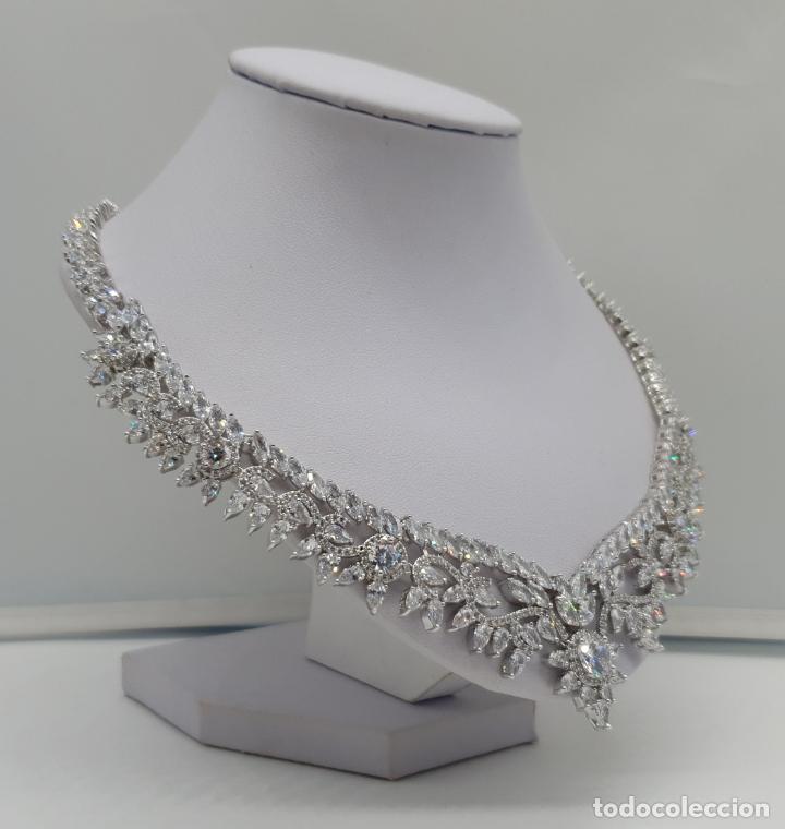 Joyeria: Espectacular gargantilla de novia chapada en oro blanco 18k, circonitas talla marqués talla diamante - Foto 4 - 215272607