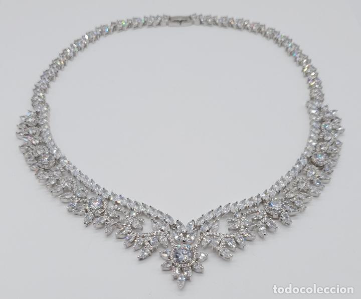 Joyeria: Espectacular gargantilla de novia chapada en oro blanco 18k, circonitas talla marqués talla diamante - Foto 5 - 215272607