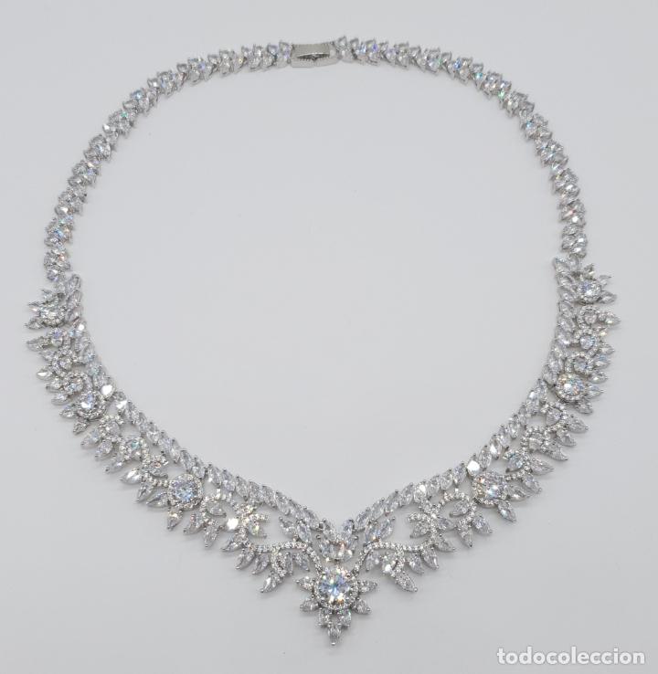 Joyeria: Espectacular gargantilla de novia chapada en oro blanco 18k, circonitas talla marqués talla diamante - Foto 6 - 215272607